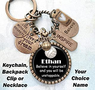 VolleyBall, Believe In Yourself with Custom Name Keychain, Backpack Clip or Necklace, Live Your Dream, Live With No Regrets, Follow Your Heart, Volleyball Gift, Unisex Design