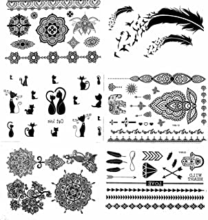 GILDED GIRL Henna Tattoo (6 Sheets) Body Paints Temporary Tattoo Designs Feathers/Mandala/Cats/Lotus/Bracelet/Elephant/Birds and more