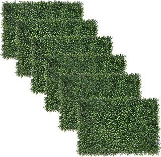 EWEE 6 قطع 24 × 16 بوصة ألواح خشب الصندوق الاصطناعي التحوط نبات الأشعة فوق البنفسجية محمي سياج الخصوصية للحديقة، المنزل، ا...