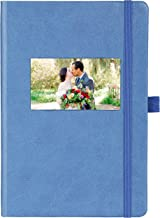 The Why Journal Classic Notebook - Ruled Durable Hardcover Journal with Pocket, Thick Ivory Paper, Size A5, Elastic Closure, Pen Holder, Photo, Business Card, Logo or Goal Window in Cover A5 blue