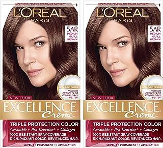 L'Oréal Paris Excellence Créme Permanent Hair Color, 5AR Medium Maple Brown (2 Count) 100% Gray Coverage Hair Dye