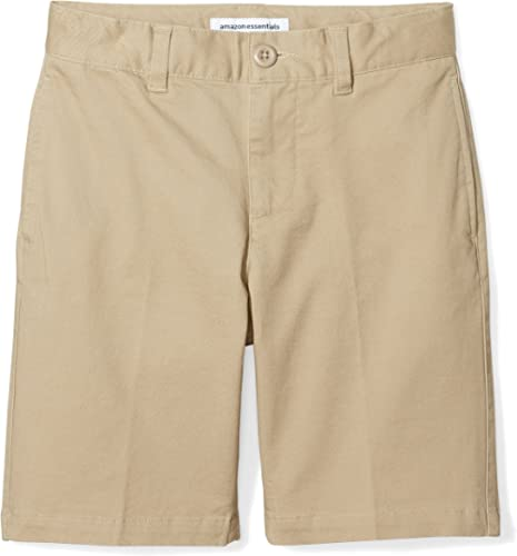 Amazon Essentials Boys' Big Woven Flat-Front Khaki Shorts