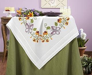 Kamaca Stickpackung Butterflies All Over Stickdecke 80 cm x 80 cm Kreuzstich vorgezeichnet aus 100% Baumwolle zum Selbersticken