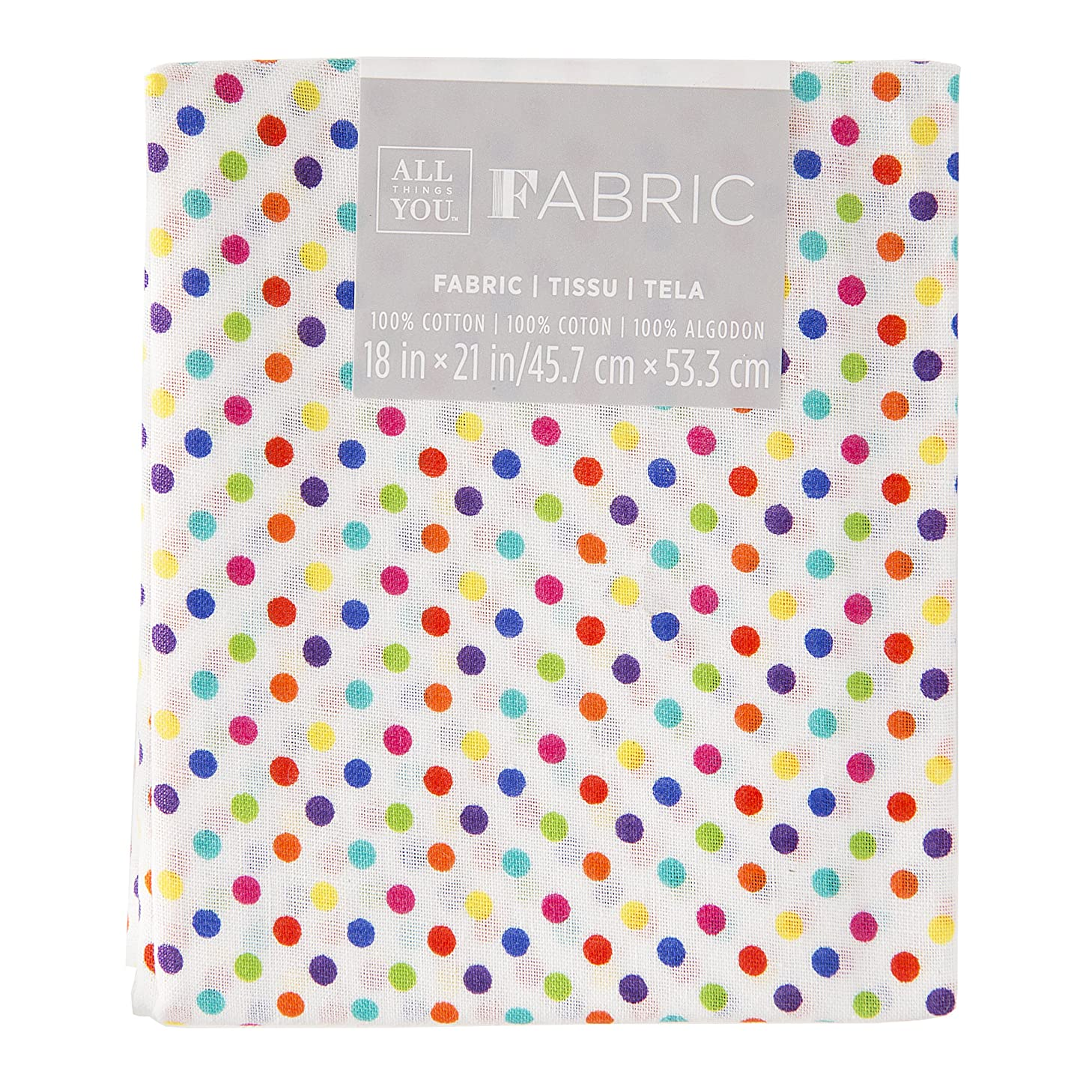 Darice Polka Dot Quilting, Rainbow Colors, 18 by 21 inches Fabric Fat Quarters