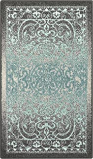 Maples Rugs Pelham 1'8 x 2'10 Non Skid Small Accent Throw Rugs [Made in USA] for Entryway and Bedroom, Grey/Blue