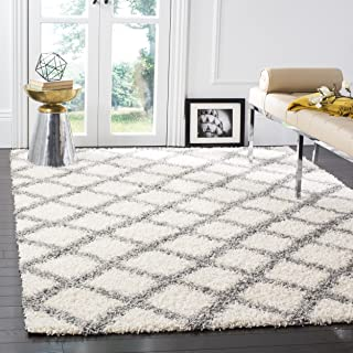 Safavieh Dallas Shag Collection SGD258F Ivory and Grey Area Rug (6' x 9')