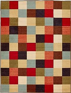 """Ottomanson Ottohome Collection Contemporary Design Modern Area Rug Skid (Non-Slip) Rubber Backing, 5'0"""" L, Multi-Color, 5'..."""