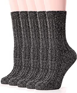 Womens Wool Socks Warm Knit Comfort Cotton Work Duty Boot Winter Socks For Cold Weather 5 Pack