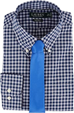 Classic Fit Non Iron Poplin Plaid Button Down Collar Dress Shirt