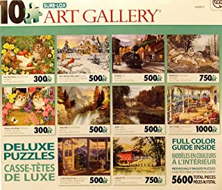 Sure-Lox Collection of 10 Deluxe Puzzles Of an Amazing Photo Art Gallery - 5600 Jigsaw Puzzle Pieces By Various Artists (AQUA BOX)