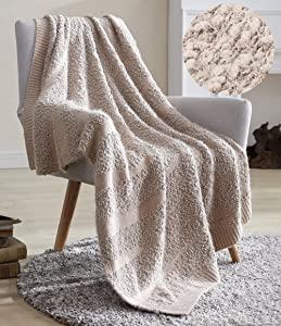 Snuggle Sac Throw Blanket Petite Pompom Design, Knit Jacquard Chunky Blanket, Double-Sided Ultra Soft Decorative Blanket for Home, Office, Travel - All Seasons Suitable for Women, Men and Kids
