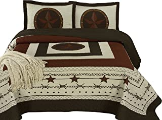 Chezmoi Collection Tucson 3-Piece Western Star Cabin Lodge Design Soft-Washed Quilt Set Oversized 100