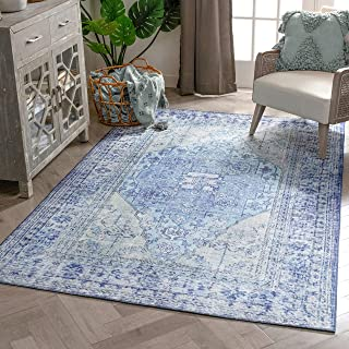 "Well Woven Overdyed Helode Machine Washable Blue Vintage Oriental Medallion Area Rug 8x10 (7'7"" x 9'6"")"