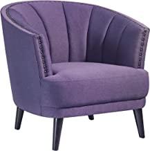 Home Canvas SOPHIE Club Chair [Purple] Upholstered Chair for Living Room - Studded Detailing, Solid Wood Legs | Accent Chairs