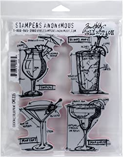 Tim Holtz CMS335 Cocktails Blueprint Cling Stamps, Multicolor
