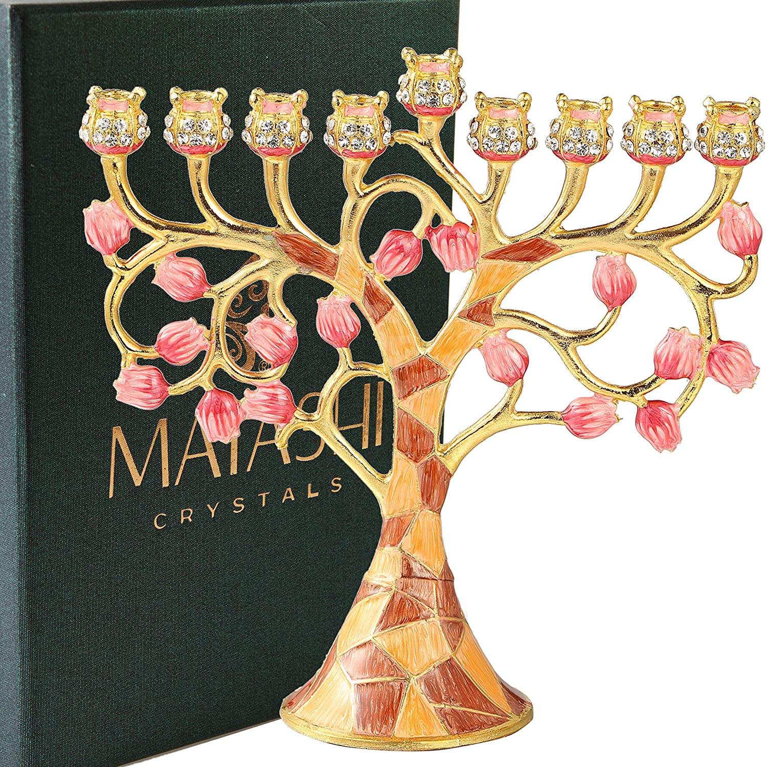 Matashi MTMNR3262 and Painted Enamel Menorah Candelabra Embellished with Gold Accents, Tree of Life