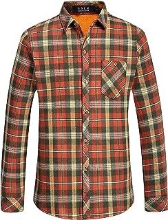 Men's Slim Fit Casual Long Sleeve Plaid Flannel Fleece Shirt
