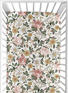 Sweet Jojo Designs Vintage Floral Boho Girl Fitted Crib Sheet Baby or Toddler Bed Nursery - Blush Pink, Yellow, Green and ...