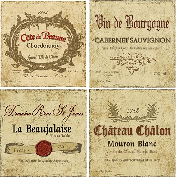 Thirstystone Stoneware Coaster Set Wine Labels
