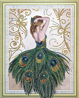 KoKoWill Special Shaped Diamond Painting Kits for Adults, 5D DIY Partial Drill Crystal Rhinestone Embroidery Cross Stitch Home Wall Décor Arts Craft Canvas,Peacock Lady,15.75 x 19.68 inch
