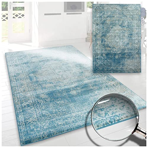 A2Z Rug Santorini Blue Vintage Faded Style Medallion Design With Floral Border 120x170 cm - 4x6 ft Medium Traditional Area Rugs