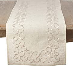 """SARO LIFESTYLE Swirling Collection Embroidered Design Linen Blend Table Runner, 16"""" x 72"""", Natural"""