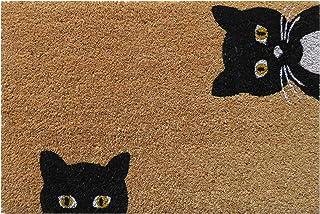 Entryways Peeping Cats Non Slip Coir Doormat, Black/White, 40 cm x 60 cm x 15 mm
