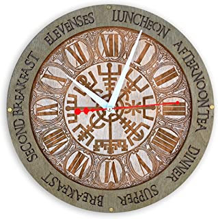 Meal Times Vegvisir viking compass brass ring Wooden Wall Clock Norse Mythology Handcrafted home decor, personalized custom gift, kitchen vintage style, meal planning, living room decorative art