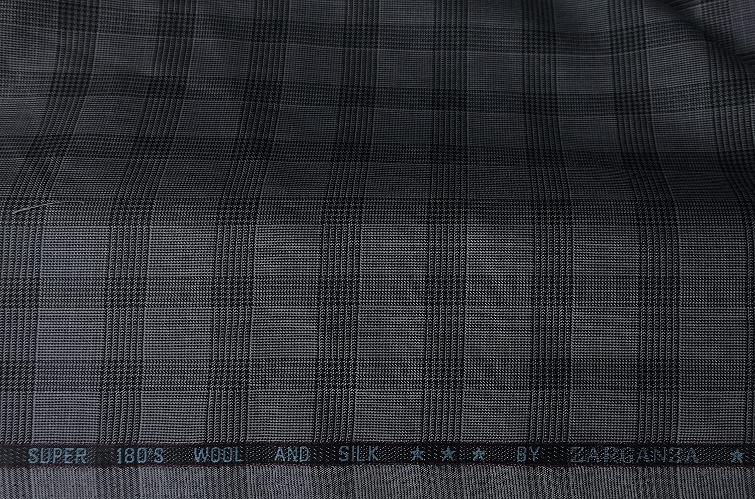 Prince of Wales Glen Plaid Windowpane Box Check Dark Gray Suiting Fabric Best for Suit Pants Jacket Coat Blazer Cashmere Wool (Sample)