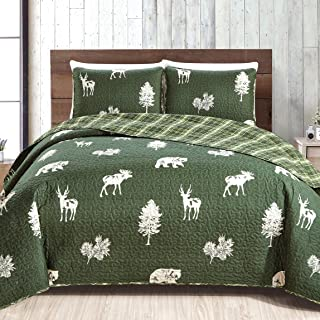 3-Piece Lodge Quilt Set with Shams. Durable Cabin Bedspread and Shams with Rustic Printed Pattern. Rio Ridge Collection (Full/Queen, Forest Green)
