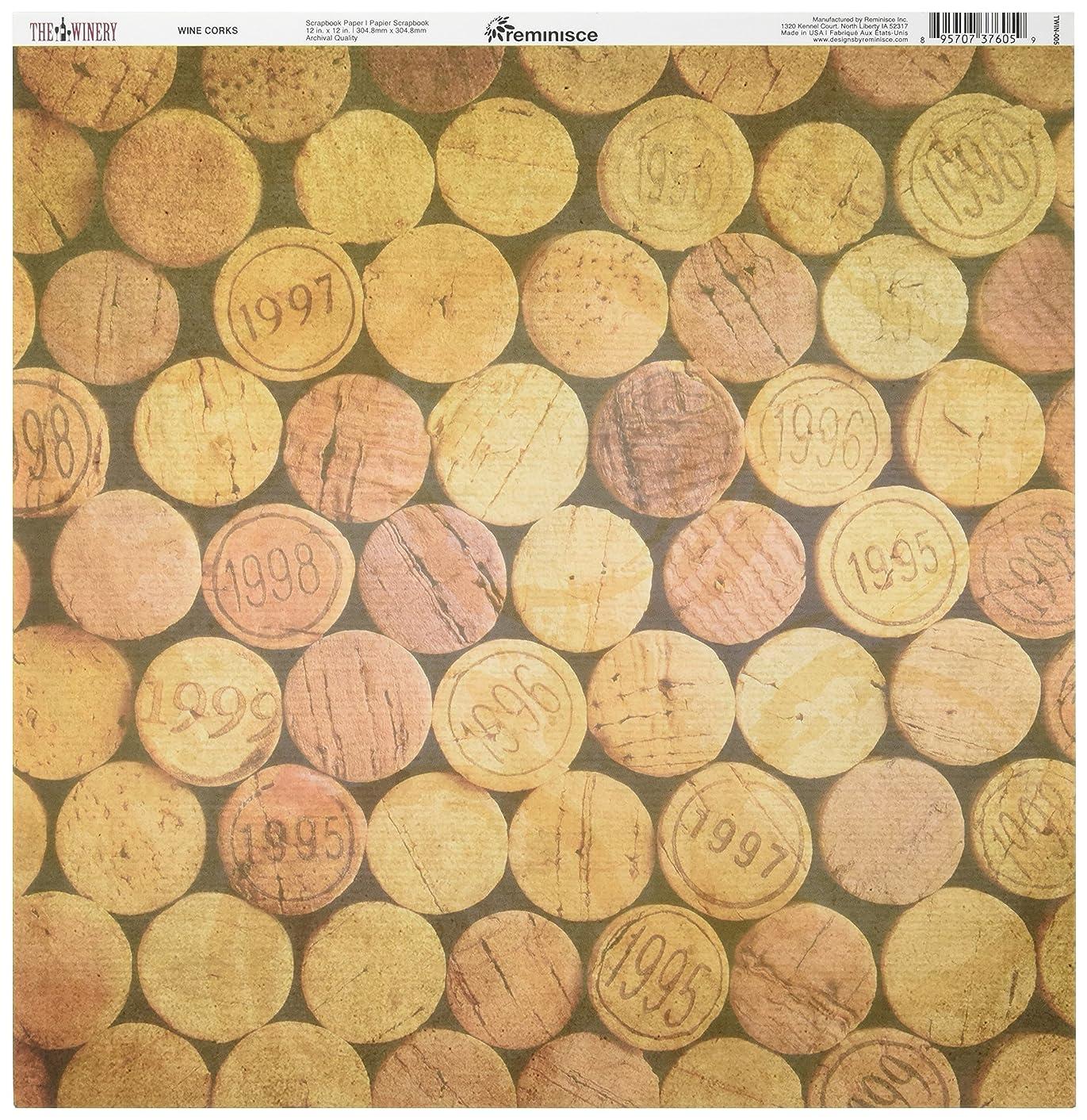 Reminisce TWIN-005 25 Sheet Wine Corks Winery Double-Sided Cardstock, 12
