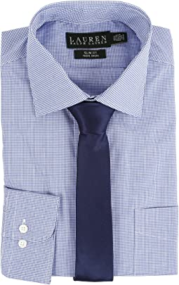 LAUREN Ralph Lauren - Microcheck Spread Collar Slim Button Down Shirt