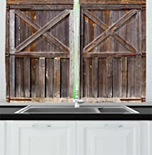 Ambesonne Rustic Kitchen Curtains, Old Wooden Barn Door of Farmhouse Oak Countryside Village Board Rural Life Photo Print, Window Drapes 2 Panel Set for Kitchen Cafe Decor, 55