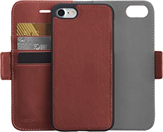 AmazonBasics iPhone 8/7 PU Leather Wallet Detachable Mobile Cover, Dark Brown