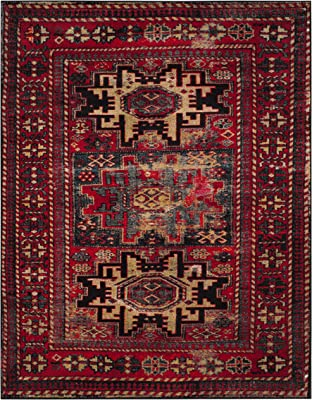 Safavieh Vintage Hamadan Collection VTH213A Oriental Traditional Persian Non-Shedding Stain Resistant Living Room Bedroom Area Rug, 8' x 10', Red / Multi