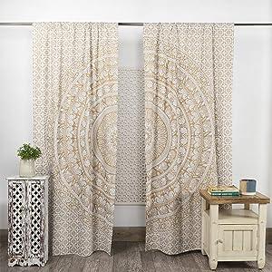 Popular Handicrafts Indian Hippie Bohemian Beautiful Elephant Mandala Curtain Panels White Gold