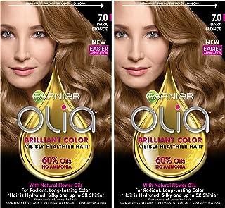 رنگ مو دائم و غنی از روغن غنی شده گارنیر اولیا آمونیاک ، 7.0 بلوند تیره (2 تعداد) رنگ مو بلوند