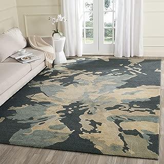 Safavieh Bella Collection BEL670A Handmade Modern Floral Abstract Art Steel Blue Wool Area Rug (9' x 12')