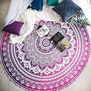 Magenta Marvel Mandala Round Tapestry Hippie Indian Mandala Beach Blanket or Hippy Bohemian Table Cover or Boho Gypsy Cotton Tablecloth Beach Towel Meditation Round Yoga Mat - 72 Inches, Pink