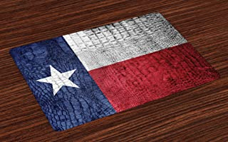 Lunarable Western Place Mats Set of 4, Texas State Flag Painted on Crocodile Snake Skin Patriotic Emblem Image, Washable Fabric Placemats for Dining Room Kitchen Table Decor, Blue White