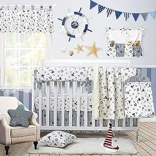 Brandream Nautical Baby Bedding for Boys Crib Bedding Set with Rail Cover, Ocean Sail Away Anchor Printed, Navy & White, 9 Pieces