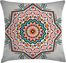 Ambesonne Tribal Throw Pillow Cushion Cover, Abstract Style Themed Boho Sun Pattern Art Print on Greyscale Background, Decorative Square Accent Pillow Case, 16