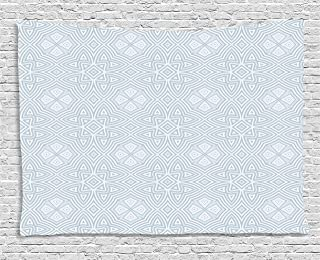 Ambesonne Celtic Tapestry, Pale Colored Square and Star Shaped Original Retro Tribal Celtic Knot Patterns, Wide Wall Hanging for Bedroom Living Room Dorm, 60