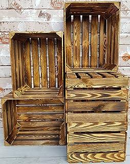 Lot de 2,3,4,6,12 caisses à fruits vintage en bois massif et solide pour décoration d'intérieur (Effet brûlé 6)