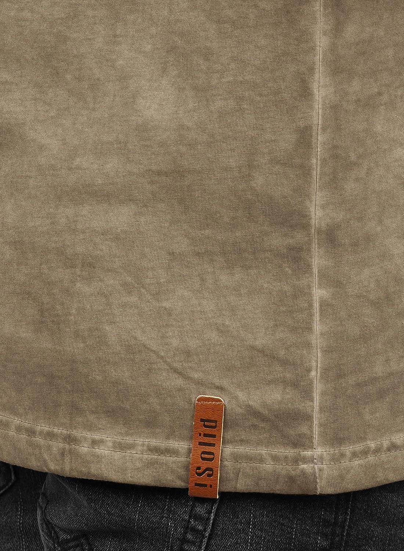 !Solid Timur Maglia Maglie A Maniche Lunghe da Uomo con Collo Grandad in Cotone 100/%