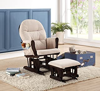 Naomi Home Brisbane Glider & Ottoman Set Espresso/Cream