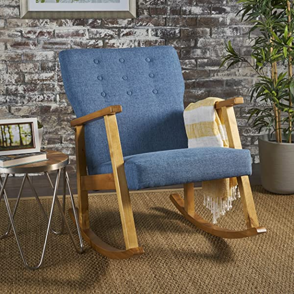 Christopher Knight Home 302189 Hank Mid Century Modern Muted Blue Fabric Rocking Chair Light Walnut