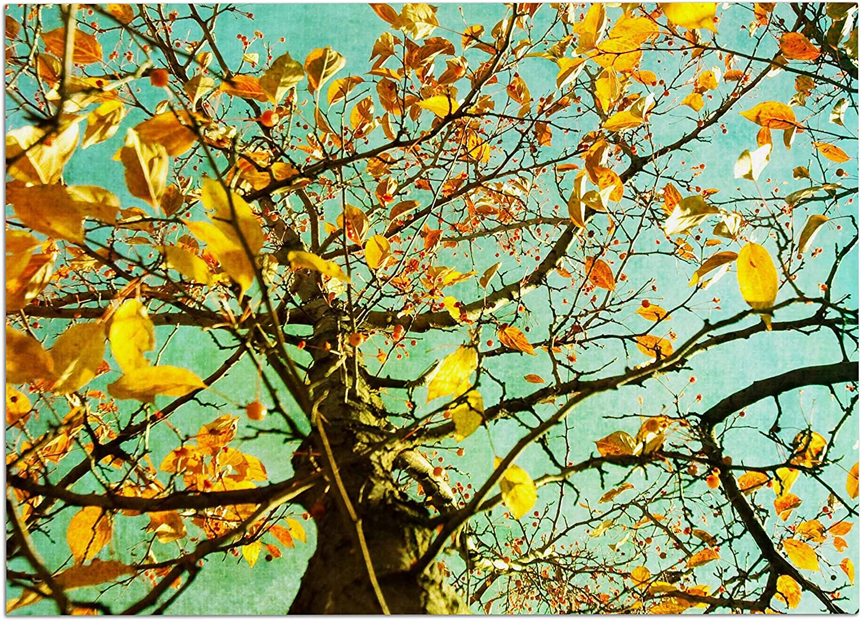 KESS InHouse Sylvia Coomes Autumn Tree  Teal Yellow Dog Place Mat, 13  x 18