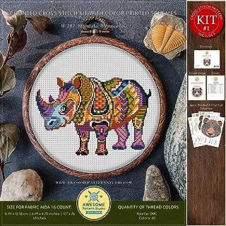 Mandala Rhinoceros #K287 Cross Stitch Embroidery Kit   Funny Animals Stitching   Cross Stitch World   Cross Stitch Designs   Cross Pattern