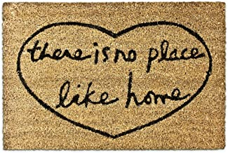 Relaxdays Coir Doormat NO Place Like Home 40 x 60 cm with Anti-Slip PVC Rubber Underside Welcome Mat, Brown